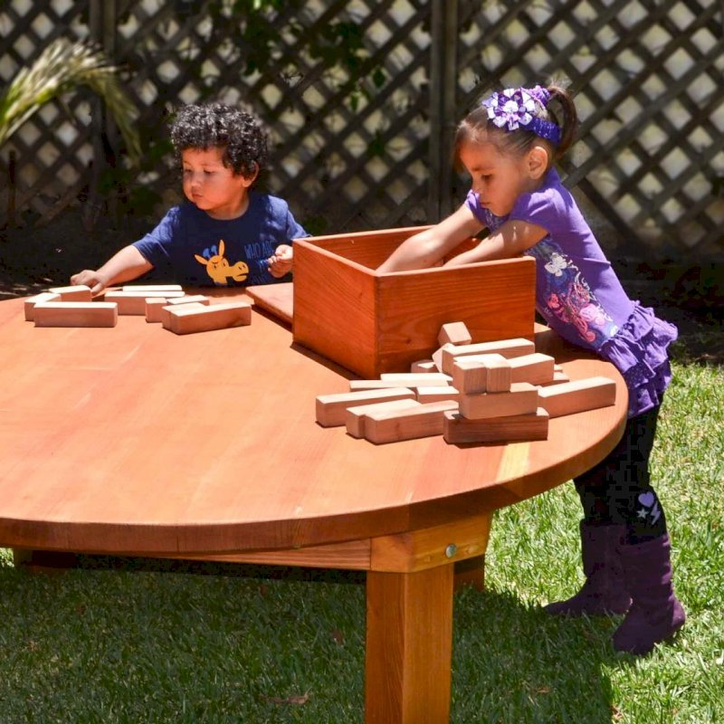 Kid's Building Block Set (Options: 72 Blocks, Include Wooden Box, Mature Redwood, Custom Engraving) and Kid's Round Patio table.