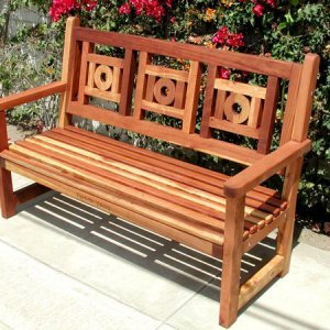 Caneel Bay Bench (Options: 5 ft, California Redwood, No Cushion, Engraving [centered front of seat], Transparent Premium Sealant).
