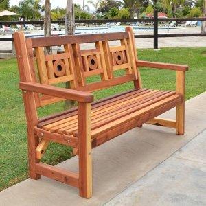 Caneel Bay Bench (Options: 5 ft, California Redwood, No Cushion, No Engraving, Transparent Premium Sealant).