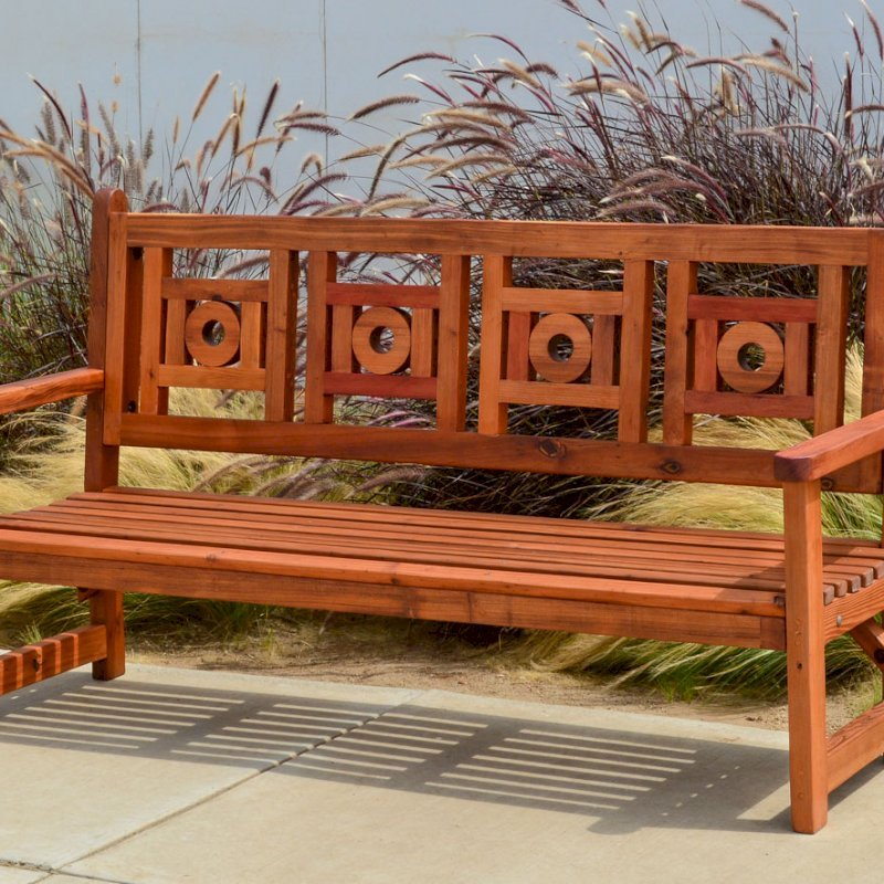 Caneel Bay Bench (Options: 6 ft, Old-Growth Redwood, No Cushion, No Engraving, Transparent Premium Sealant).