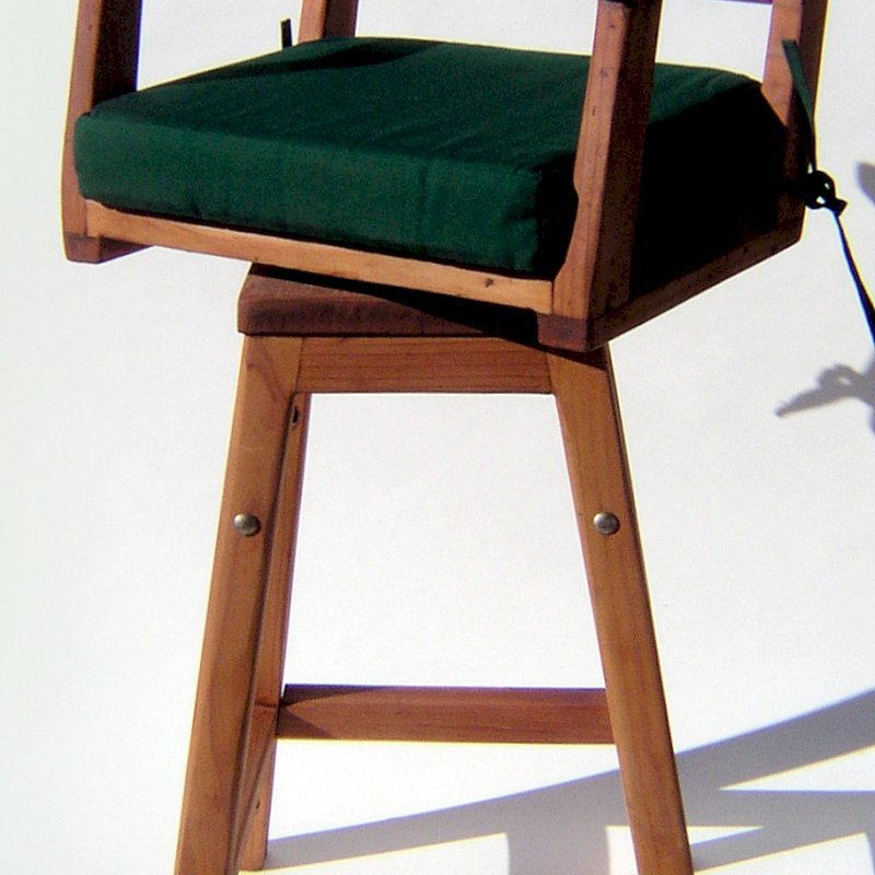 "Captain's Bar Stool (Options: Mature Redwood, Swivel Seat, 31"" H, Forest Green Cushion, Transparent Premium Sealant)"