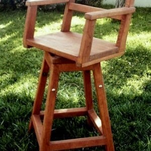 "Captain's Bar Stool (Options: Mature Redwood, Swivel Seat, 31"" H, No Cushion, Transparent Premium Sealant)"