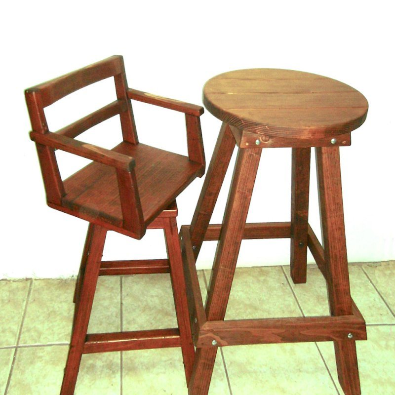 "Captain's Bar Stool (Options: Mature Redwood, Swivel Seat, 31"" H, No Cushion, Coffee-Stain Premium Sealant)"