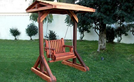Garden Chair Swing Set with Roof (Options: custom request of contrasting mix of 3 Redwood grades - California Redwood, Mature Redwood, and Old-Growth Redwood, Classic Seat Design, Transparent Premium Sealant)
