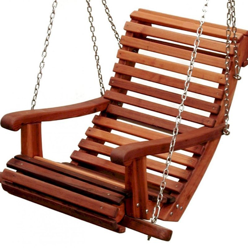 The Ensenada Seat design option for the Armchair Garden Swing (no extra charge). By custom request.