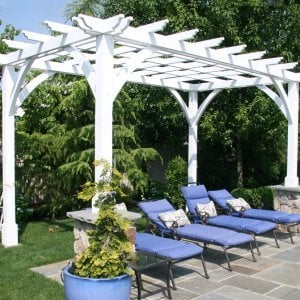 Cherry Hill Pergola (Options: 16' x 10', Redwood, No Electrical Wiring Trim, Post Anchoring for Stone, Brick or Concrete, No Ceiling Fan Base, No Curtain Rods, No Privacy Panels, 9' Post Height, Off-White Oil-Based). Photo Courtesy of Rich Wulwick of Cherry Hill, New Jersey.