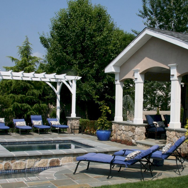 Cherry Hill Pergola (Options: 16' x 10', California Redwood, No Electrical Wiring Trim, Post Anchoring for Stone, Brick or Concrete, No Ceiling Fan Base, No Curtain Rods, No Privacy Panels, 9' Post Height, Off-White Oil-Based). Photo Courtesy of Rich Wulwick of Cherry Hill, New Jersey.