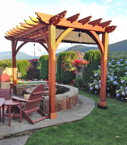 Cherry Hill Pergola (Options: 12'L x 10'W, No Privacy Panel, Mature Redwood, 9.5 ft Heigth, No Electrical Wiring Trim, 4-post anchor kit for gale-wind, No Post Decorative Trim, No Ceiling Fan Base, No Curtain Rods, No Retractable Shade Canopy, Transparent Premium Sealant (recommended)). Photo Courtesy of Scott Prueter