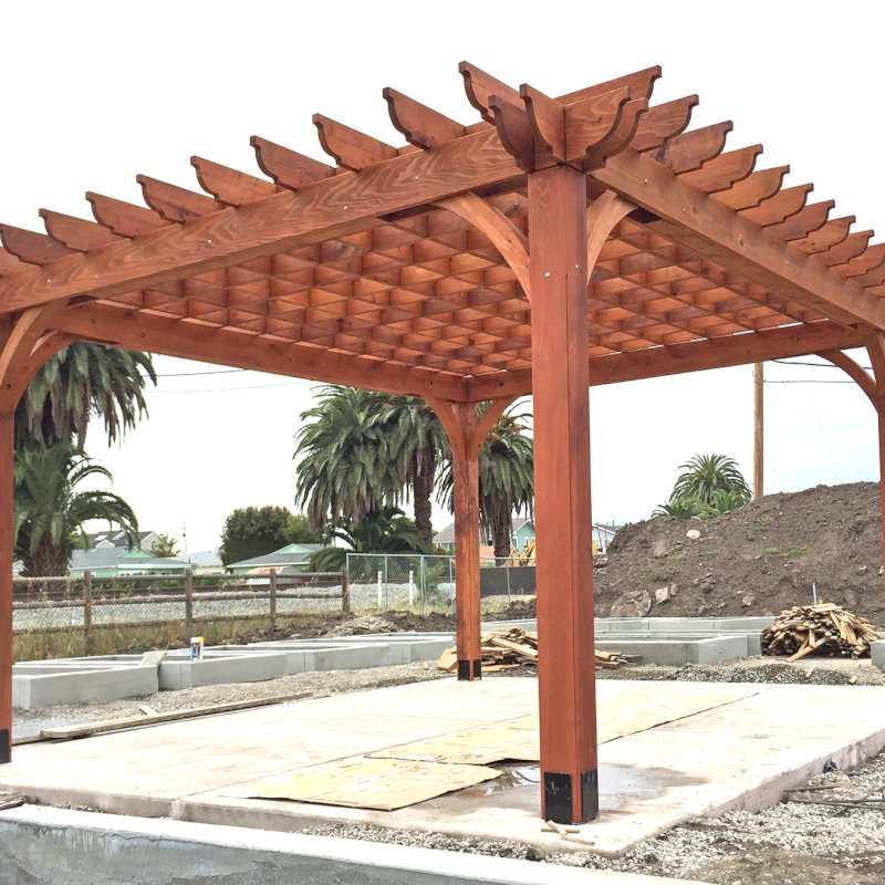 Cherry Hill Pergola (Options: 16' x 20', Mature Redwood, Post Anchoring for Concrete, No Ceiling Fan Base, No Curtain Rods, No Privacy Panels, 9.5' Post, Transparent Premium Sealant). 2 x 8 Roof Timbers and 8 x 8 Posts by Custom Request. Photos taken in Carpinteria Garden Park during construction, May 10, 2017. Photo Courtesy of M. Roberts of Carpinteria, CA.