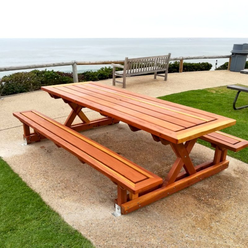 "Chris's Picnic Table (Options: 8' L x 34"" W, California Redwood, Standard Tabletop, Slightly Rounded Corners, 1 5/8"" Umbrella Hole, Transparent Premium Sealant). Photo Courtesy of G. Cooley of Dana Point, California."