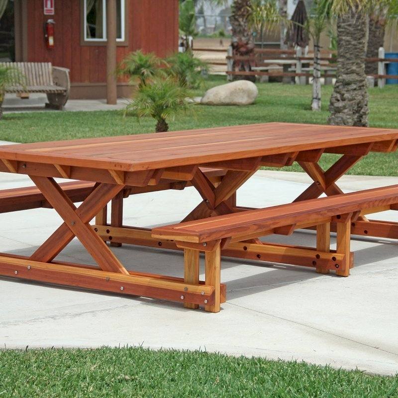 "Chris's Picnic Table (Options: 10' L x 46"" W, California Redwood, Standard Tabletop, Rounded Corners, No Umbrella Hole, Transparent Premium Sealant)."