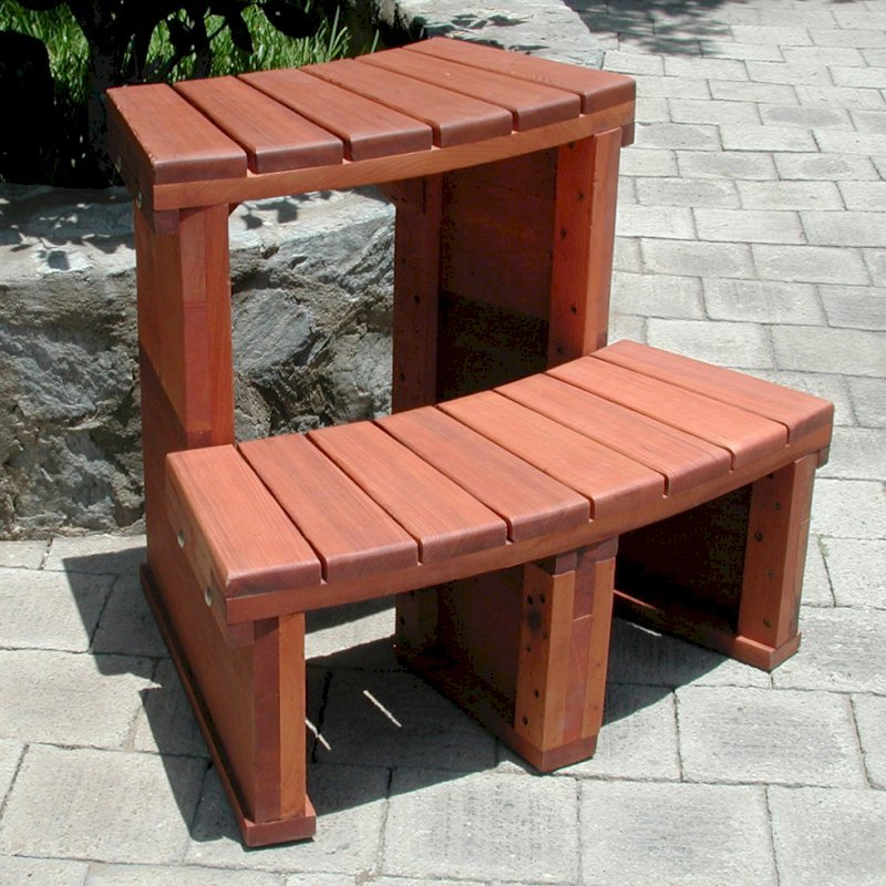 Stupendous Circular Wooden Spa Steps Custom Redwood Spa Steps Ibusinesslaw Wood Chair Design Ideas Ibusinesslaworg