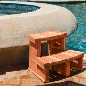 Circular Spa Step (Options: Angle to fit snugly for 6' tub, Redwood, No Engraving, Transparent Premium Sealant).