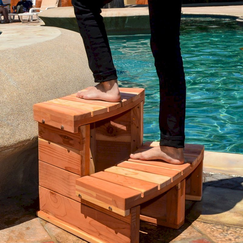 Circular Spa Step (Options: Angle to fit snugly for 6' tub, California Redwood, No Engraving, Transparent Premium Sealant).