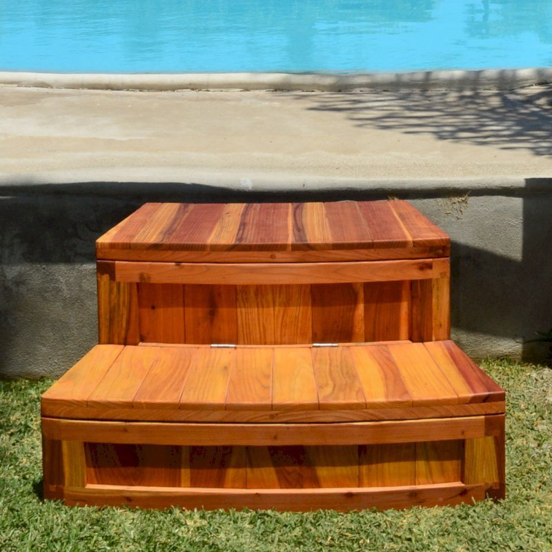 Custom Circular Spa Step - Storage Design (Options: California Redwood, Transparent Premium Sealant). Note: this is a custom order, contact us if you want something similar.