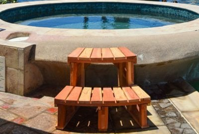 Circular Wooden Spa Step