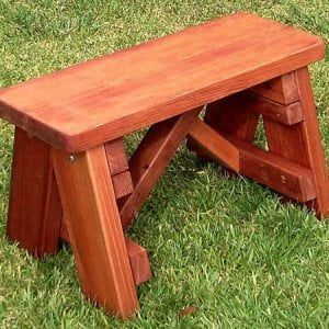 Classic Picnic Bench (Options: 2 1/2 ft, 17 1/2 inches H,  Mature Redwood, Slightly Rounded Corner, No Engraving, Transparent Premium Sealant).