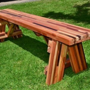Classic Picnic Bench (Options: 6 ft, 17 1/2 inches H, Mosaic Eco-Wood, Slightly Rounded Corners, No Engraving, Transparent Premium Sealant).