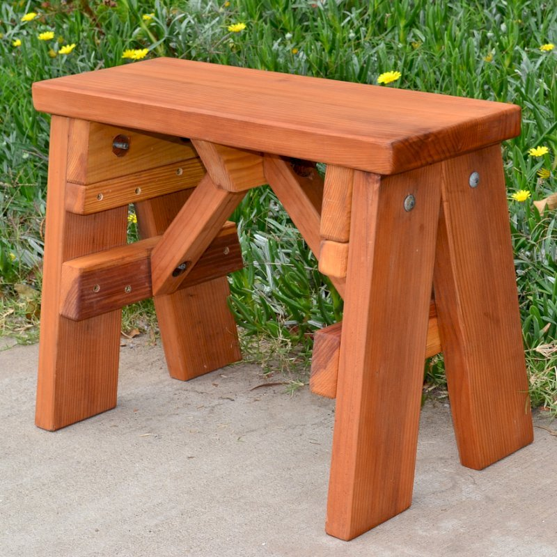 Classic Picnic Bench (Options: 2 ft, 17 1/2 inches H, Mature Redwood, Rounded Corners, Custom Engraving, Transparent Premium Sealant).