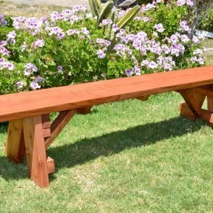 Classic Picnic Bench (Options: 7 ft, 15 inches H, Mature Redwood, Slightly Rounded Corners, No Engraving, Transparent Premium Sealant).