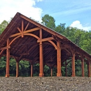 Custom Fat Timber Wood Pavilion Kits (Options: 34' x 60', Redwood, 16-Post Kit for Hurricane, Electrical Wiring Trim Kit for 6 Posts, 2 Fan Bases, Transparent premium Sealant). Photo Courtesy of S. Hilton of Sevierville, TN.