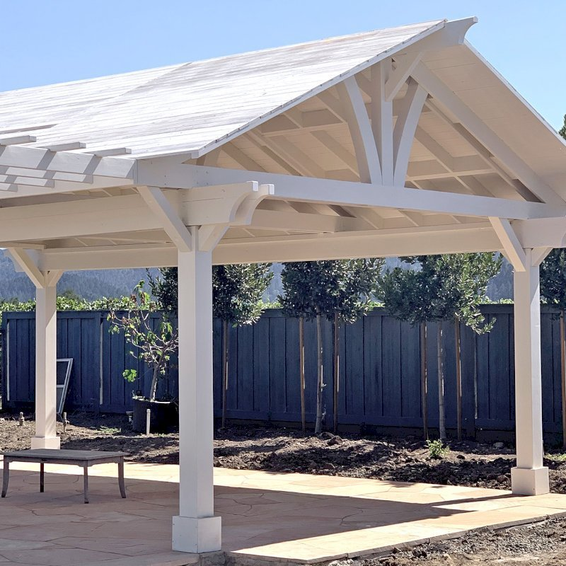 Custom Wood Pavilion Kits (Options: 28' L x 20' W, California Redwood, No Electrical Wiring Trim Kit, Gale-Wind Anchors, Custom White Paint) with a Garden Pergola Attached. Photo Courtesy of M. Hansen of St. Helena, California.