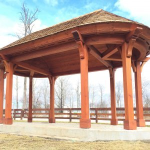 Custom Wood Pavilion Kits (Options: 24' x 12', Old-Growth Redwood, Post Anchor Kit for Gale-Wind, Transparent Premium Sealant). Photo Courtesy of J. Brannon of Newtown, Connecticut.