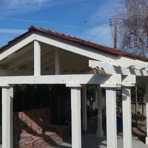"""Custom Wood Pavilion Kits (Options: 20' L, 16'-5 1/2"""" W, Douglas, 4-post kit for stone, brick, or concrete (with anchor bolts), Electrical Wiring Trim 1 post, 9 ft H, Add a Ceiling Fan Base, No Privacy Panels, No Curtain Rods, Moulding Finish Style, Transparent Premium Sealant). Customer Request: 7 1/4"""" Long & Short Supports, 7 1/4"""" Rafters. 3/4"""" Roof Boards"""