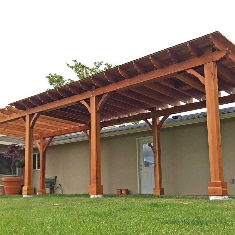 Custom Wood Pavilion Kits (Options: 24' L x 12' W, California Redwood, One Ceiling Fan Base, Electrical Wiring Trim Kit for 1 Post, Gale-Wind Anchors for 8 Posts, 8 x 8 Posts by Custom Request, Transparent Premium Sealant) with a 14' L x 12' W Garden Pergola Attached. Photo Courtesy of G. Scotzin of Pasco, WA.