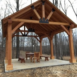 Custom Wood Pavilion Kits is now a popular standard production pavilion called the Toledo Thick Timber Pavilion. See the product page with many more photos at: https://www.foreverredwood.com/the-toledo-pavilions.html