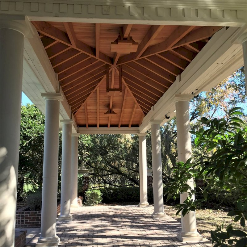 """Custom Wood Pavilion Kits (Options: 32"""" L x 12"""" W, Douglas-Fir, 6-Post Kit for Hurricane, 10 ft Post Height, 3 Ceiling Fan Base, With Curtain Rods, decorative columns provided by client, added 2 coats of off white oil based primer to all the timbers but not to the interior ceiling.)"""