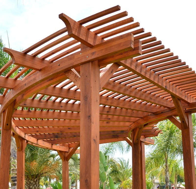 Custom Wooden Fat Timber Pergola (Options: Custom Size and Design, Mature Redwood, Transparent Premium Sealant).