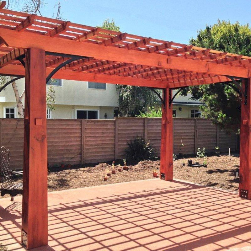 "Custom Wooden Fat Timber Pergola (Options: 20'-6"" x 13'-4"", Mature Redwood, Larger Timbers and Metal Diagonal Braces by Custom Request). Photo Courtesy of John & Marilyn Raffensperger of Santa Monica, CA"