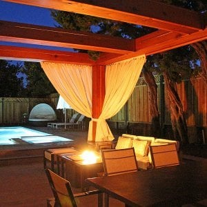 Custom Wooden Fat Timber Pergola (Options: 20' L, 16' W, Old-Growth Redwood, 4 Electrical Wiring Trims, with 2 3/4