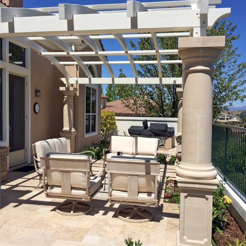Custom Wooden Fat Timber Pergola (Options: 20' x 14', Douglas-fir, Unattached, Off-White Oil-Based Primer). Photo Courtesy of Mary B. of San Jose, CA.