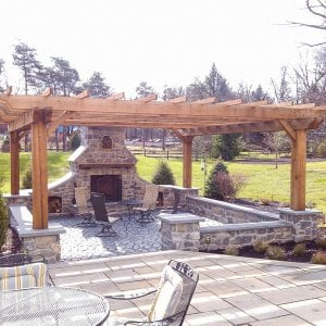 """Custom Wooden Fat Timber Pergola (Options: 22' x 20', Mature Redwood, Open Roof with Slats at 24"""", 4"""" x 10"""" Rafters, Lengthwise Roof Support Timbers, 10"""" x 10"""" Posts, Bandsaw Finish). Photo Courtesy of Mike Rhoads."""