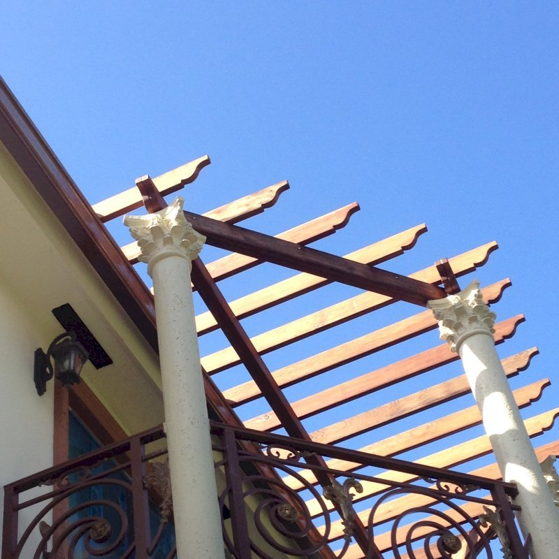 Custom Pergola (Options: California Redwood, Pergola Sits Atop Loas Bearing Columns, Transparent Premium Sealant).