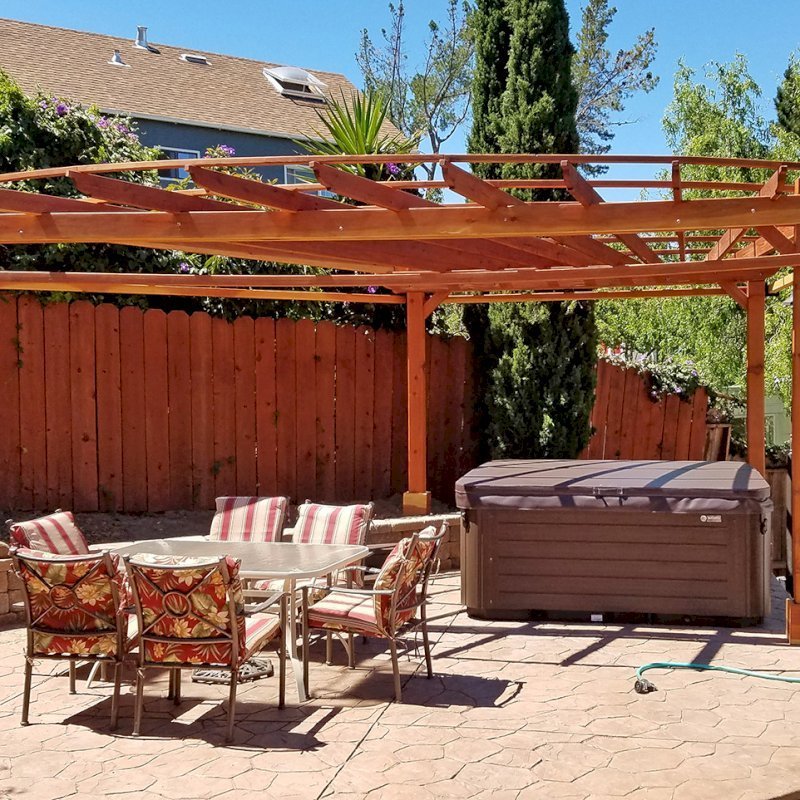 Custom Pergola (Options: 20' L, 13' W, California Redwood, 1 Electrical Wiring Trim, 4 Post Anchor Kit for Gale-Wind, No Privacy Panels, Curtain Rods on 4 sides, 8.5' Post Height, Transparent Premium Sealant). Photo Courtesy of Chip Hansel of Brisbane, CA.