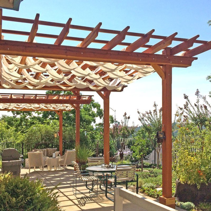 Custom Pergola (Options: 35' L, 13' W, California Redwood, No Electrical Wiring Trim, 4 Post Anchor Kit for Concrete, No Privacy Panels, No Curtain Rods, 10' & 11' Post Height, Transparent Premium Sealant). Photo Courtesy of D. Drake of Auburn, CA.