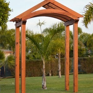 "Custom Entryway Arbor/Pergola (Options: 11'-7"" x 5'-9"", with 8x8 Supports and 6x8 Rafters, Mature Redwood, Transparent Premium Sealant). Yes, we can make an entryway arbor in any size and style you like... Photo Courtesy of M. Day of Mill Valley, CA."