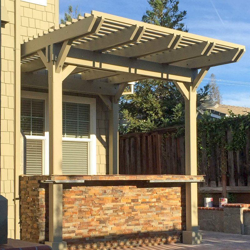 Custom Pergola (Options:12' x 9', California Redwood, Gray Oil-Based Primer and Custom Paint). Photo Courtesy of Unlimited Outdoor Kitchens of San Jose, CA.