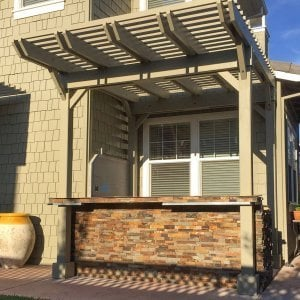 Custom Pergola (Options:12' x 9', Redwood, Gray Oil-Based Primer and Custom Paint). Photo Courtesy of Unlimited Outdoor Kitchens of San Jose, CA.