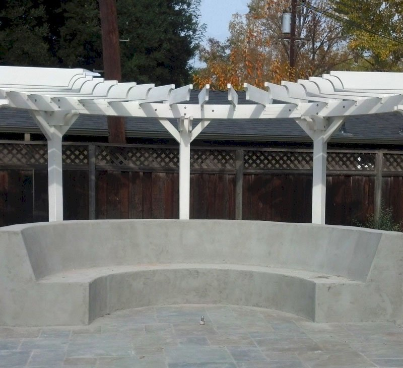 Custom Pergola (Options: Douglas-fir, Half Circle Design, 3 x 8 Timbers Used for Arc, 2 x 8 Used for Rafters, 9 Posts, Off-White Oil-Based Primer).