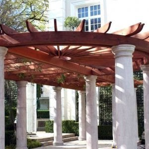 Custom Pergola (Options: 60' L, Old-Growth Redwood, No Posts, Transparent Premium Sealant). Central Circular structure detail of Roof for a Museum in Mexico City, Mexico.