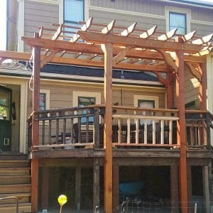 "Custom Garden Pergola (Options: 18' L x 13' W, Redwood, Open Roof with Slats at 18"" Rafters at 18"" Roof Support Timbers, 6 Post Anchor Kit for Concrete, No Ceiling Fan Base, No Privacy Panels, No Curtain Rods, Custom 14' Post Height, Transparent Premium Sealant). Photo Courtesy of E. Seput of Benicia, CA."