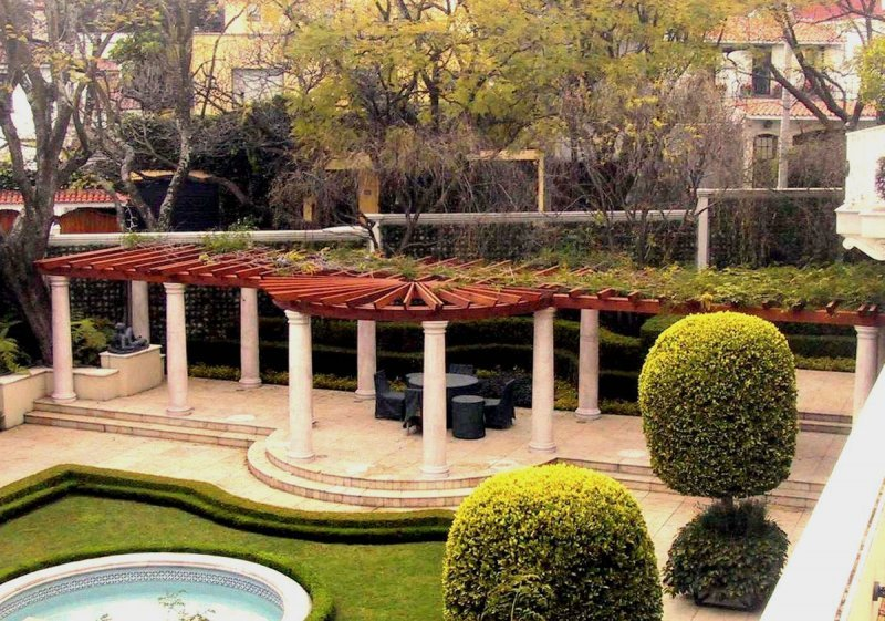 Custom Pergola (Options: 60' L, Old-Growth Redwood, Transparent Premium Sealant). Roof for a Museum in Mexico City, Mexico.