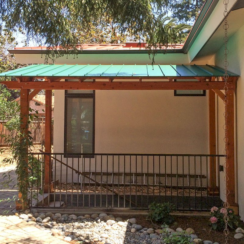 """Custom Pergola (Options: 8'-5"""" x 15'-7"""", California Redwood, Flat Roof with 1x6 Tongue and Groove Boards and Metal Roof by Custom Request, Transparent Premium Sealant). Photo Courtesy of Steve A. of Atherton, CA."""