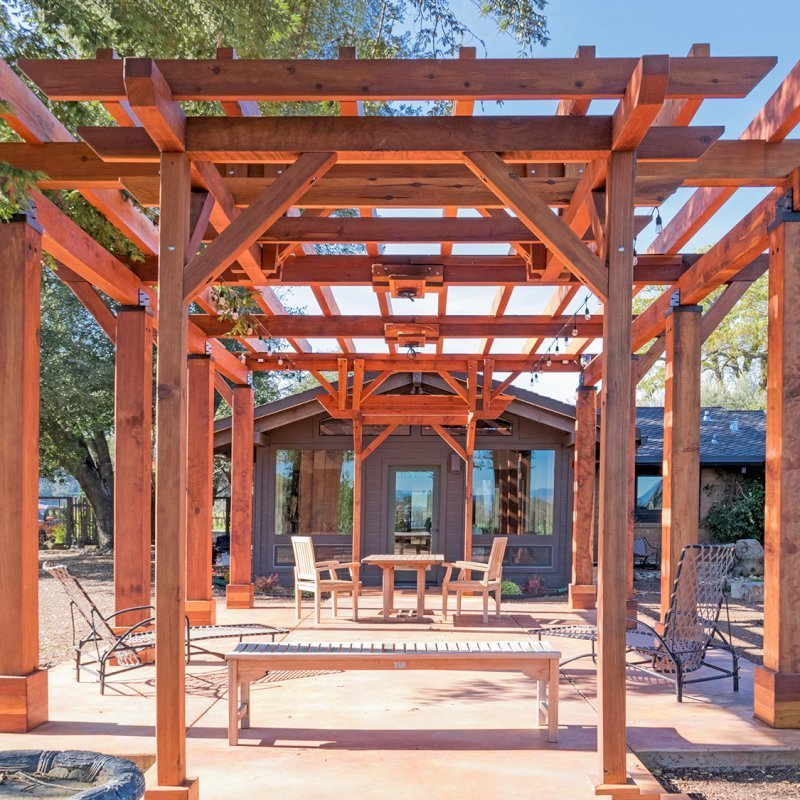 Custom Pergolas (Options: 28' x 20', California Redwood, Posts Anchor Kit for Concrete, Transparent Premium Sealant). Photo Courtesy of S. Taplin of St. Helena, CA.