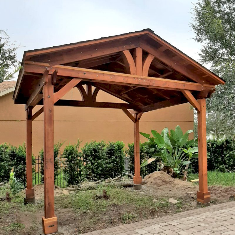 Del Norte Pavilion (Options: 12' L x 14' W, California Redwood, 4-Post Kit for Gale-Wind, 1 Ceiling Fan Base, 1 Electrical Wiring Trim Kit, No Post Decorative Trims, Transparent Premium Sealant). Photo Courtesy of Ion Tiu of Windermere, Florida.