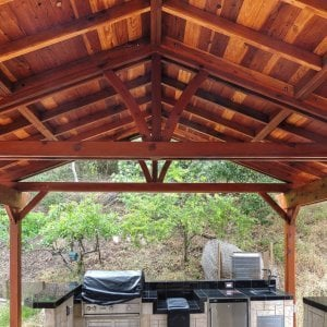 Del Norte Outdoor Kitchen Pavilion (Options: 22' L x 22' W, Redwood, Unattached, 6 Post Anchor Kit for Stone, Brick or Concrete, No Electrical Wiring, 9 ft Post Height, No Ceiling Fan Base, No Privacy Panels, No Curtain Rods,Transparent Sealant). Photo Courtesy of El Laurel Resort of Baja, Mexico.